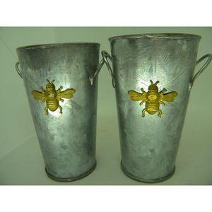 Galvanized Metal Bumble Bee Country Decor Vases